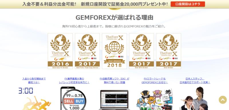 GEMFOREXトップ画像